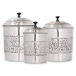 Old Dutch International 3-Piece Antique Embossed Victoria Canister Set in Pewter