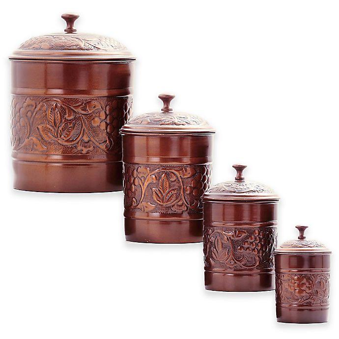 Alternate image 1 for Old Dutch International 4-Piece Antique Embossed Heritage Canister Set in Antique Copper