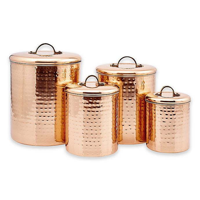 Alternate image 1 for Old Dutch International Décor Hammered Copper 4-Piece Canister Set