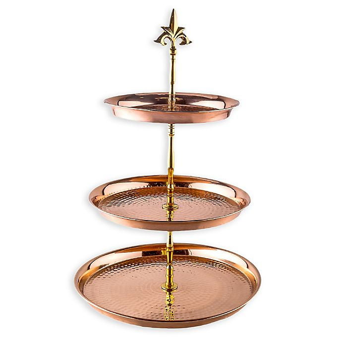 Alternate image 1 for Old Dutch International 3-Tier Hammered Copper Serving Stand with Brass Stem