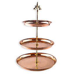 Old Dutch International 3-Tier Hammered Copper Serving Stand with Brass Stem