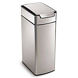 simplehuman® Slim Brushed Stainless Steel 40-Liter Touch Bar Trash Can