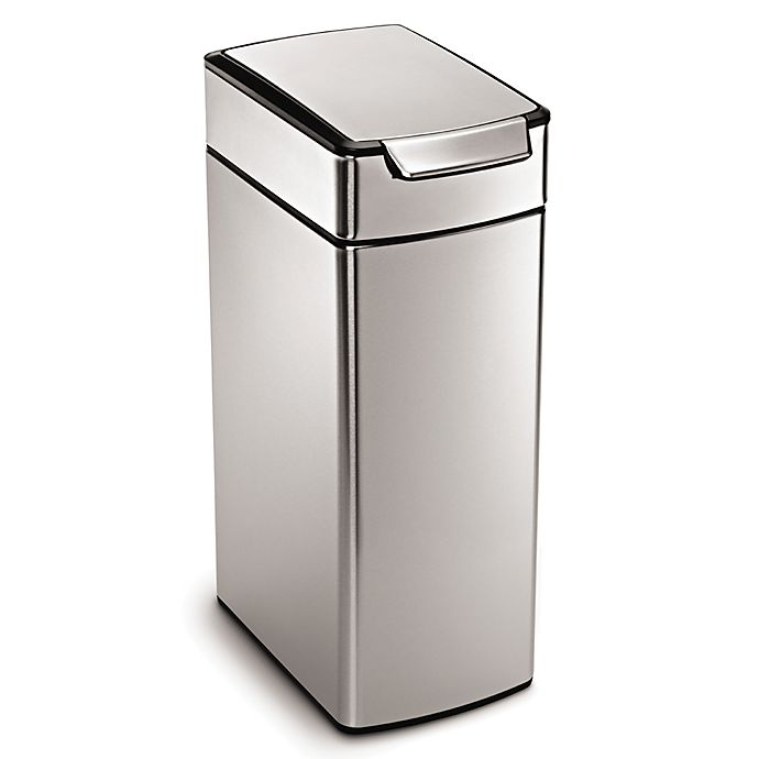 Alternate image 1 for simplehuman® Slim Brushed Stainless Steel 40-Liter Touch Bar Trash Can