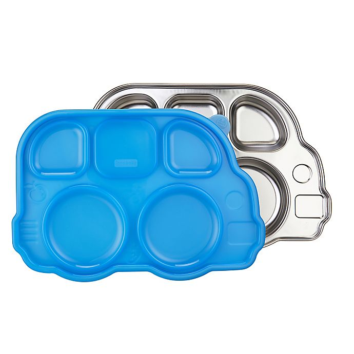Alternate image 1 for Innobaby Din Din SMART™ Stainless Bus Platter with Sectional Lid in Blue