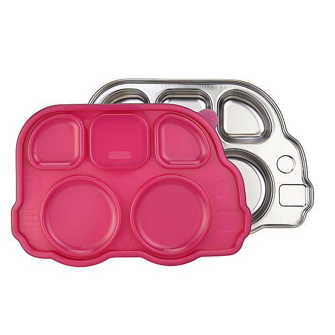 Alternate image 1 for Innobaby Din Din SMART™ Stainless Bus Platter with Sectional Lid in Pink