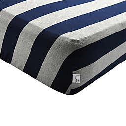 Burt's Bees Baby® Bee Essentials Wide Stripe Organic Cotton Fitted Crib Sheet in Blueberry