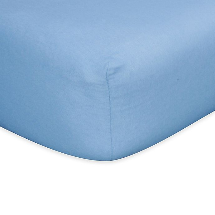 Alternate image 1 for Trend Lab® Flannel Fitted Crib Sheet in Blue
