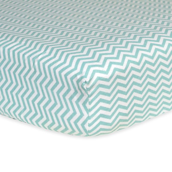 Alternate image 1 for Trend Lab® Chevron Flannel Fitted Crib Sheet in Mint