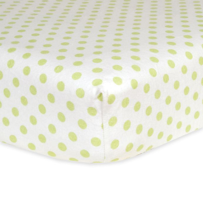 Alternate image 1 for Trend Lab® Polka Dot Flannel Fitted Crib Sheet in Sage/White