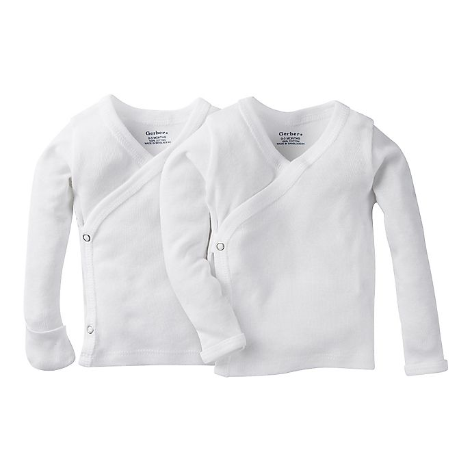 d46ad826 Gerber® Preemie 2-Pack Long Sleeve Side Snap Shirt with Mittens ...