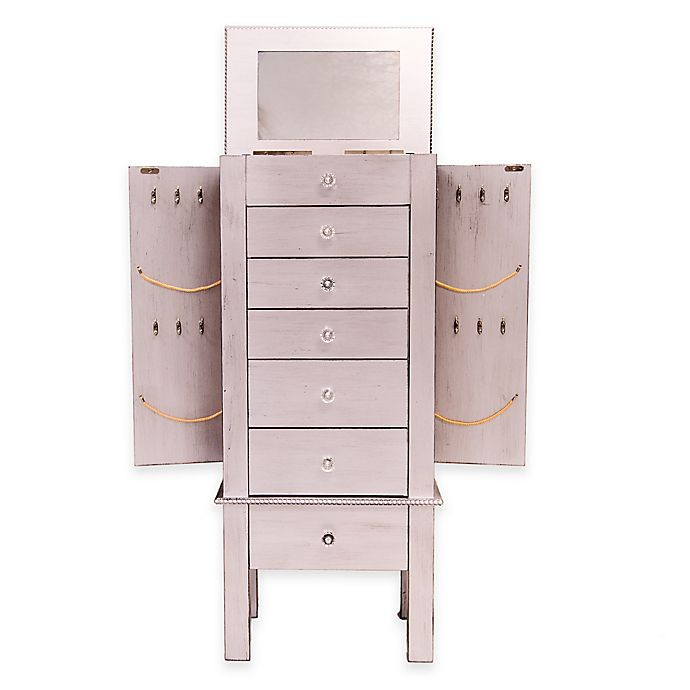 Hannah Jewelry Armoire In Silver Leaf Bed Bath Beyond