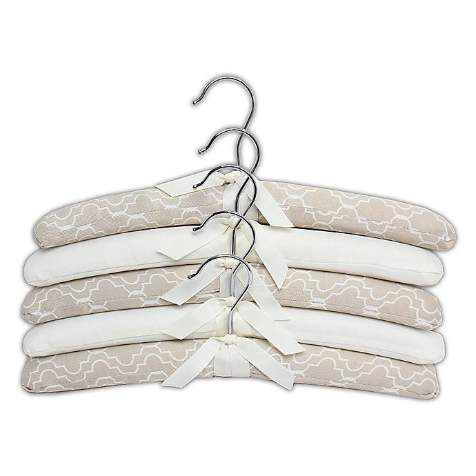 Alternate image 1 for E-Z Do 5-Pack Trellis Print Padded Hangers