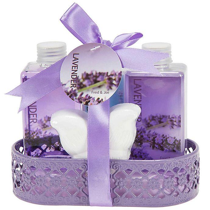 Alternate image 1 for Freida & Joe Wire Basket Lavender Fragrance Bath & Body Set