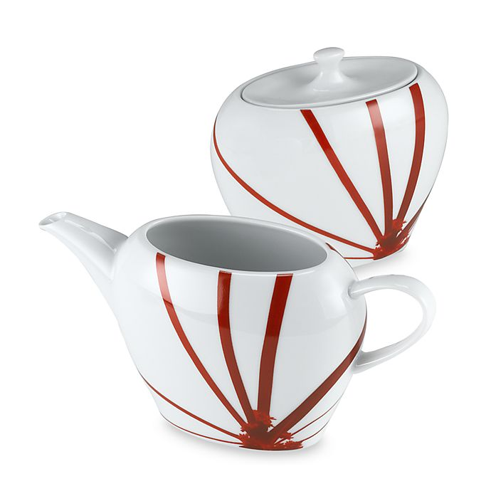 Alternate image 1 for Mikasa® Pure Red Covered Sugar Bowl and Creamer