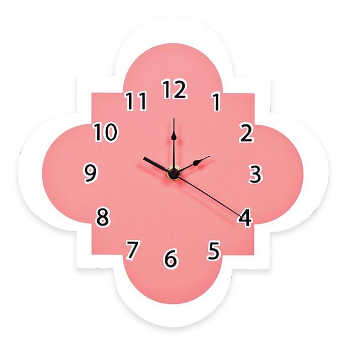 Alternate image 1 for Trend Lab® Cocoa Coral Quatrefoil Wall Clock