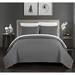 Chic Home Platt Queen Quilt Set in Charcoal Grey
