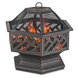 UniFlame® Hex Shaped 27-Inch Outdoor Fire Pit in Oil Rubbed Bronze