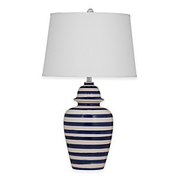 Bassett Mirror Company Davis Table Lamp in Navy/White