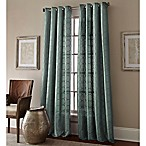 Manhattan 95-Inch Grommet Top Embroidered Window Curtain Panel in Blue