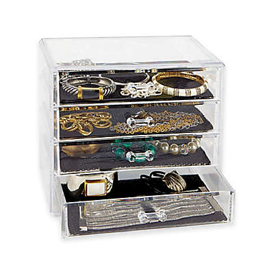 4-Tier 4-Drawer Cosmetic and Jewelry Chest in Clear