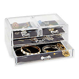 3-Tier 4-Drawer Cosmetic and Jewelry Chest in Clear