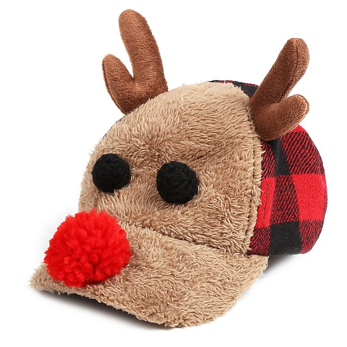 Alternate image 1 for Rising Star™ Buffalo Check Reindeer Hat in Brown