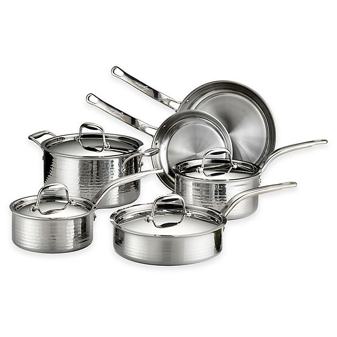Alternate image 1 for Lagostina Martellata Tri-Ply Stainless Steel 10-Piece Cookware Set and Open Stock