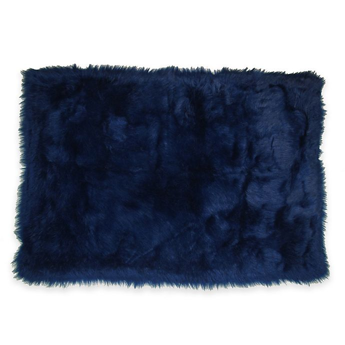 Alternate image 1 for Fun Rugs® Flokati Shag Rug in Dark Blue