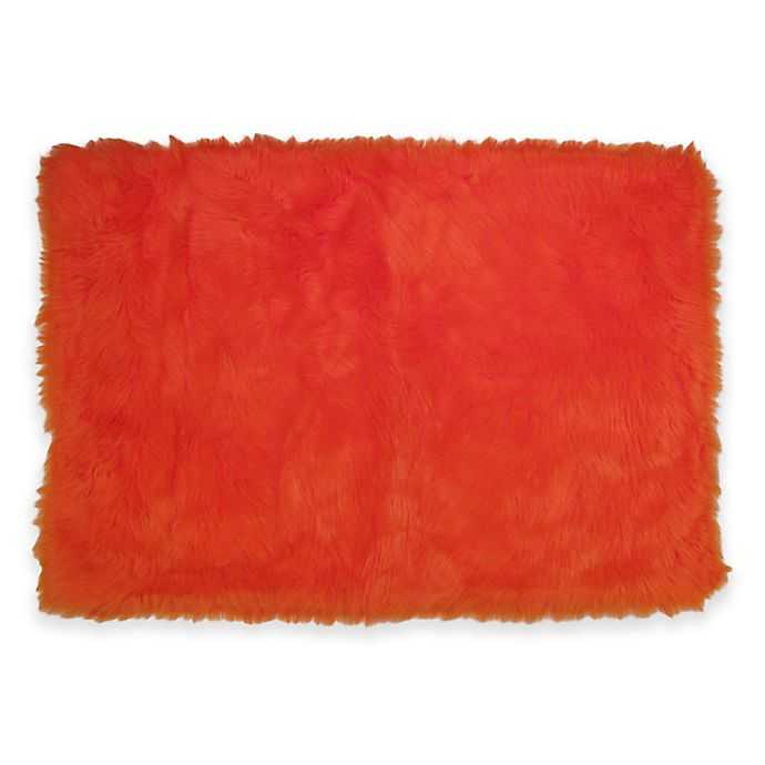 Alternate image 1 for Fun Rugs™ Flokati 2-Foot 7-Inch x 3-Foot 11-Inch Rug in Orange
