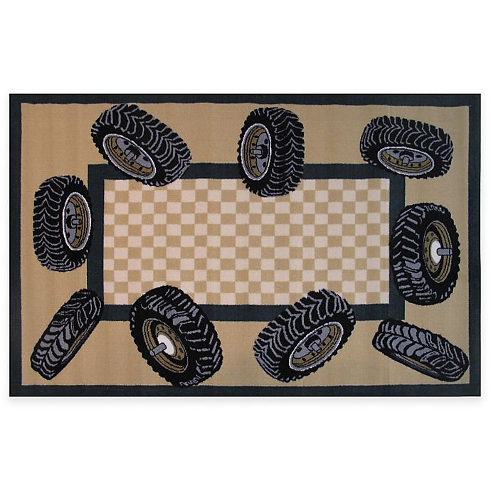 Alternate image 1 for Fun Rugs™ 3-Foot 3-Inch x 4-Foot 10-Inch Tire Border Rug