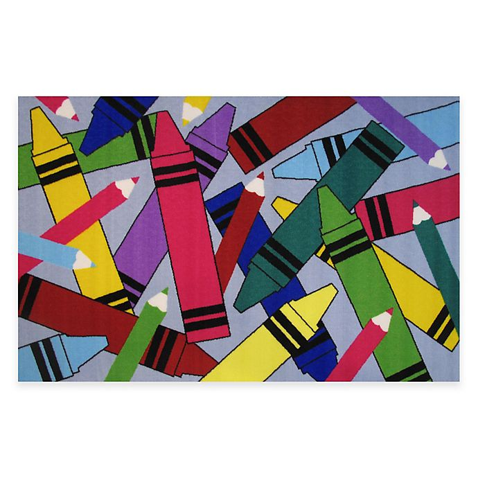Fun Rugs Crayons Pencils 4 Foot 10 Inch X 3 Foot 3 Inch Area Rug