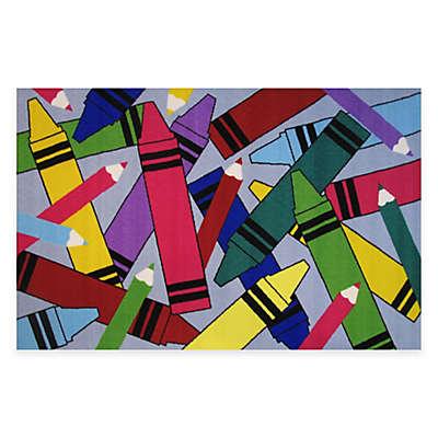 Fun Rugs® Crayons & Pencils 4-Foot 10-Inch x 3-Foot 3-Inch Area Rug