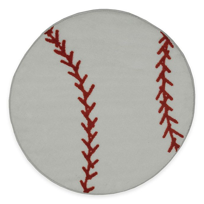 Alternate image 1 for Fun Rugs™ Fun Time 3-Foot 3-Inch Round Baseball Rug