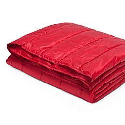 Pouf Water-Resistant Indoor/Outdoor Nylon Throw Blanket in Red