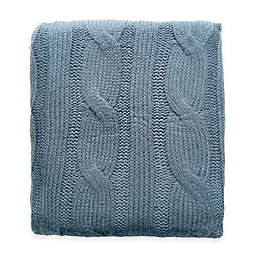 Cable Knit Throw Blanket in Spa Blue