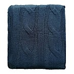 Cable Knit Throw in Navy