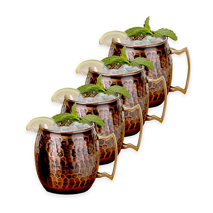 Alternate image 1 for Old Dutch International Antique Solid Copper Hammered Moscow Mule Mugs (Set of 4)