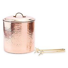 Old Dutch International Copper-Plated Hammered Ice Bucket with Tongs