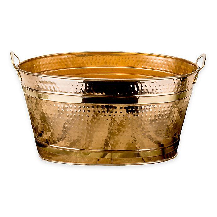 Old Dutch International 11 Gallon Copper Plated Hammered Beverage Tub