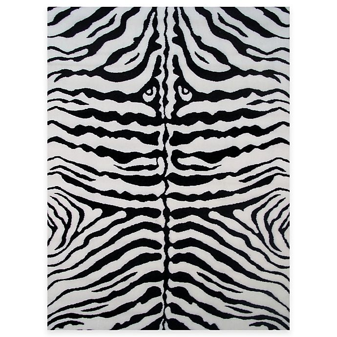 Alternate image 1 for Fun Rugs™ Zebra Skin 3-Foot 3-Inch x 4-Foot 10-Inch Accent Rug in White/Black