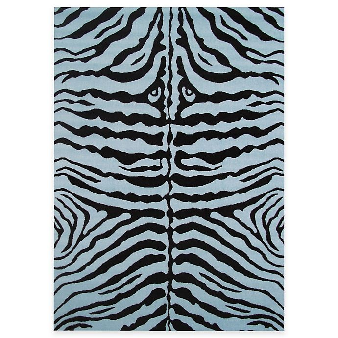 Alternate image 1 for Fun Rugs™  Zebra Skin 1-Foot 7-Inch x 2-Foot 5-Inch Accent Rug in Blue/Black