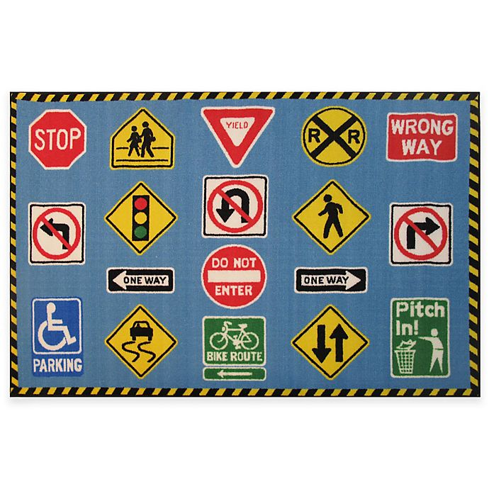 Alternate image 1 for Fun Rugs Fun Time 1-Foot 7-Inch x 2-Foot 5-Inch Traffic Signs Area Rug