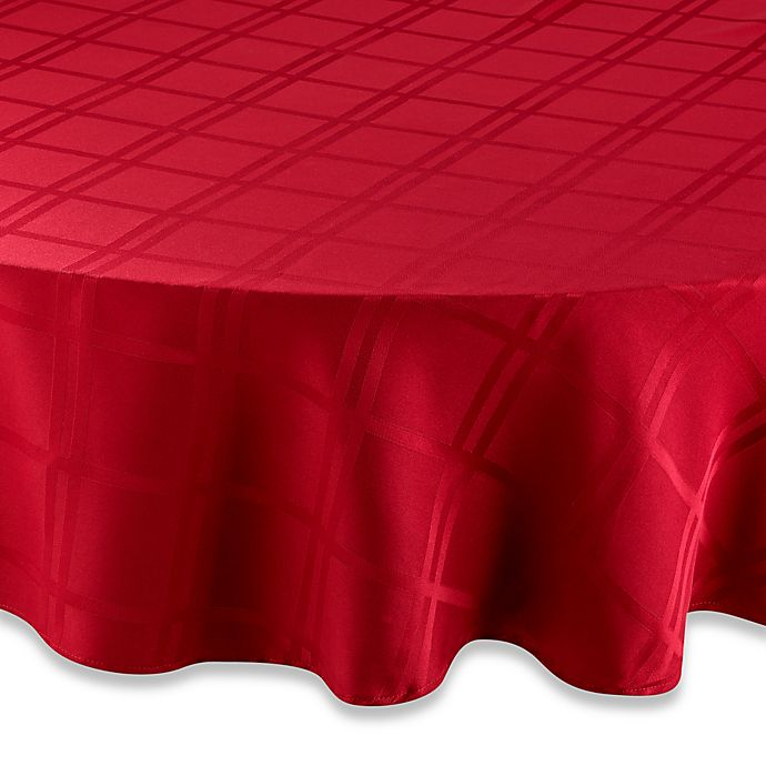 Alternate image 1 for Origins™ Microfiber 90-Inch Round Tablecloth in Ruby