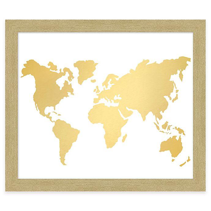 Gold Foil World Map Framed.World Map Gold Foil Framed Wall Art Bed Bath Beyond