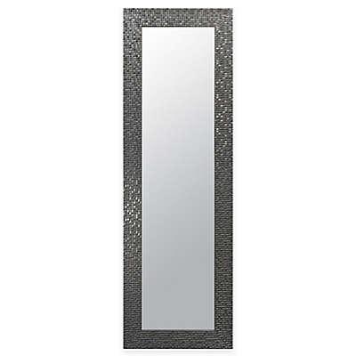 """Door Solutions™ Over-the-Door 17.5"""" x 53.5"""" Mosaic Tile Mirror in Silver"""