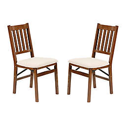 Stakmore Arts & Crafts Wood Folding Chairs in Fruitwood (Set of 2)