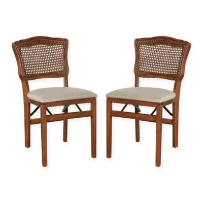 Stakmore French Cane Back Wood Folding Chairs Set Of 2