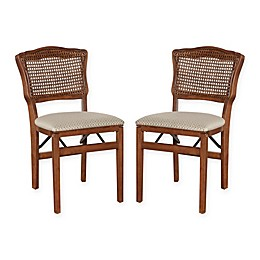 Stakmore French Cane Back Wood Folding Chairs (Set of 2)