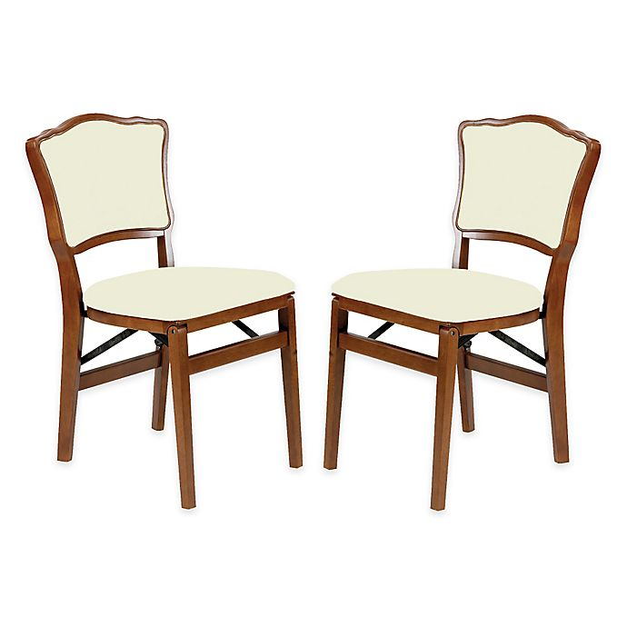 Alternate image 1 for Stakmore French Padded Back Wood Folding Chairs in Fruitwood (Set of 2)
