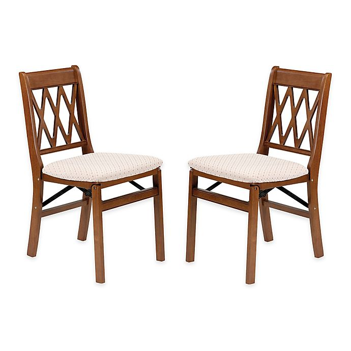 Alternate image 1 for Stakmore Lattice Back Wood Folding Chairs in Fruitwood ( Set of 2)